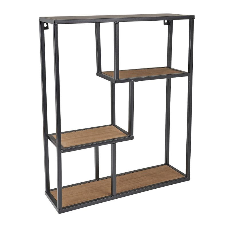 Wandvakkenkast - hout/metaal - 40x12x50 cm