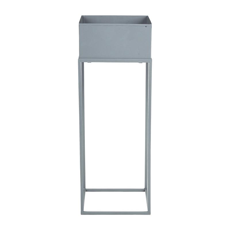 Bloembak metaal op standaard - grijs - 25x25x68 cm