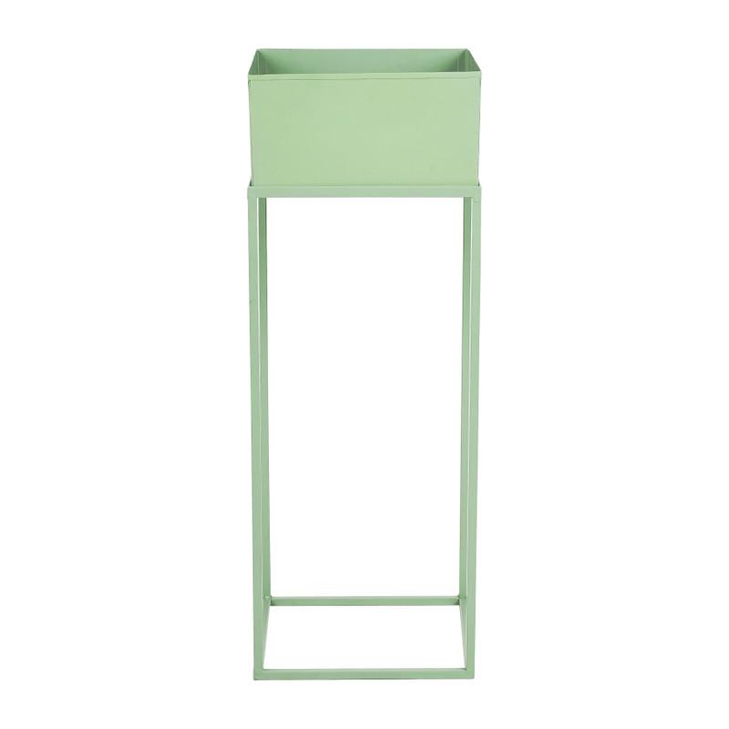 Bloembak metaal op standaard - groen - 25x25x68 cm