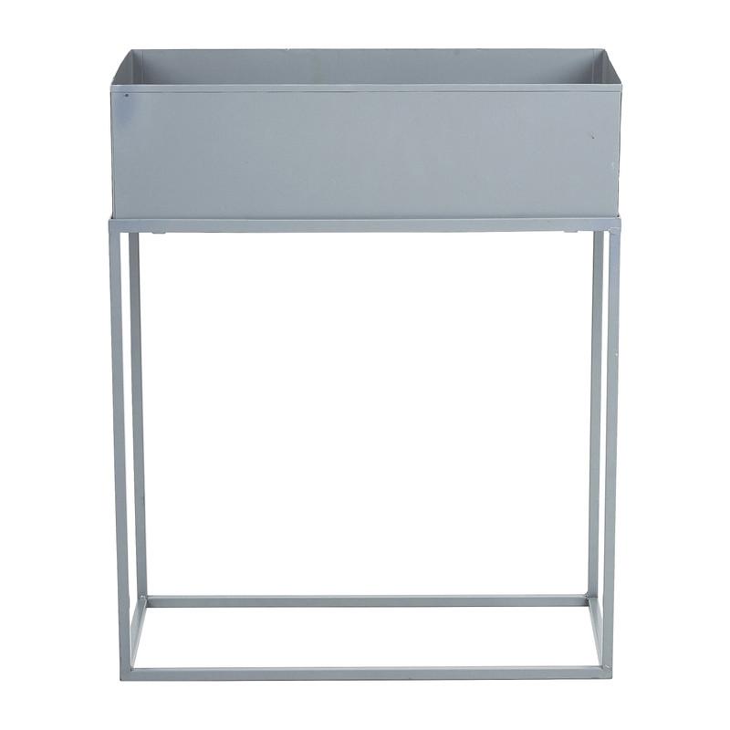 Bloembak metaal op standaard - grijs - 45x20x55 cm
