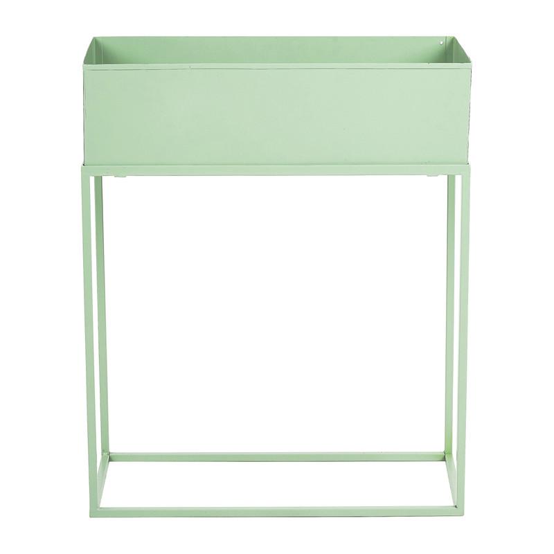 Bloembak metaal op standaard - groen - 45x20x55 cm