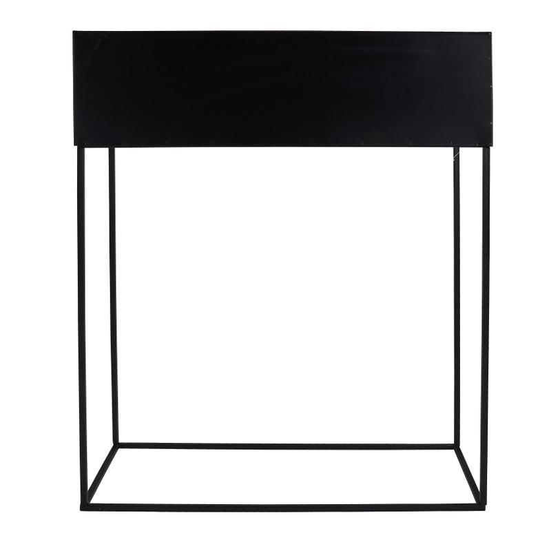Bloembak metaal zwart 50x20x65 cm