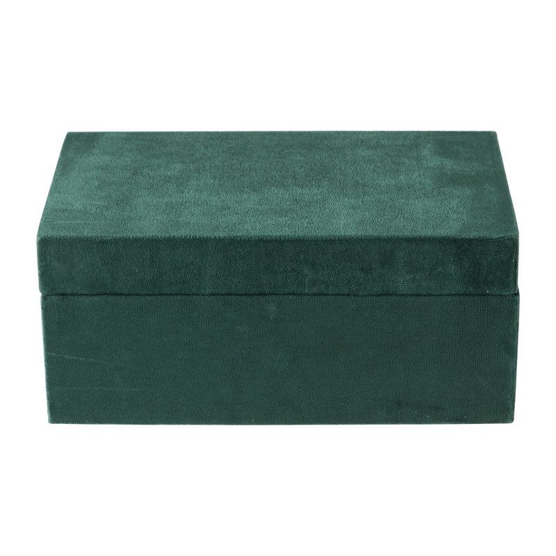 Kistje velvet - groen - ⌀23x14x10 cm