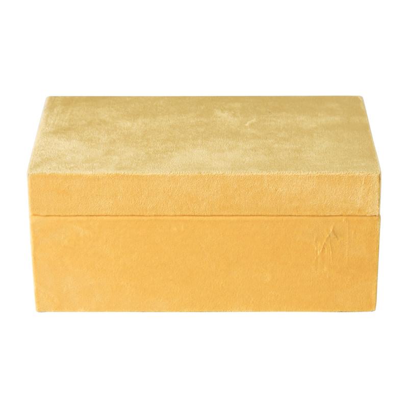 Kistje velvet - geel - ⌀23x14x10 cm