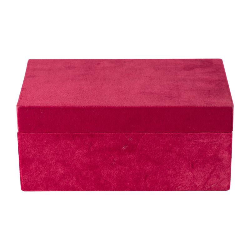 Kistje velvet - rood - ⌀23x14x10 cm