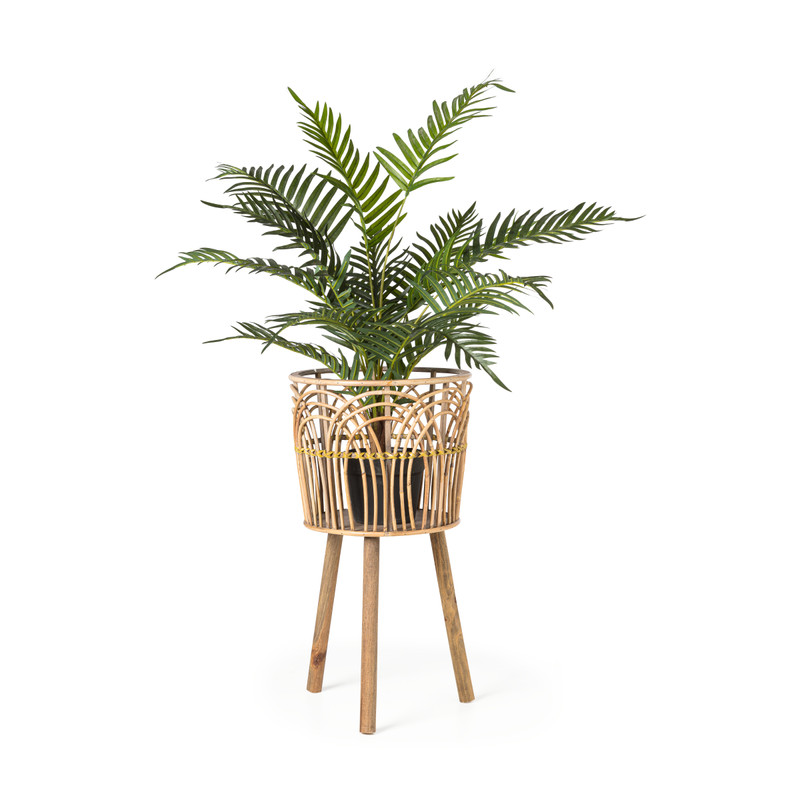 Rotan plantenbak op voet - ø34x63 cm