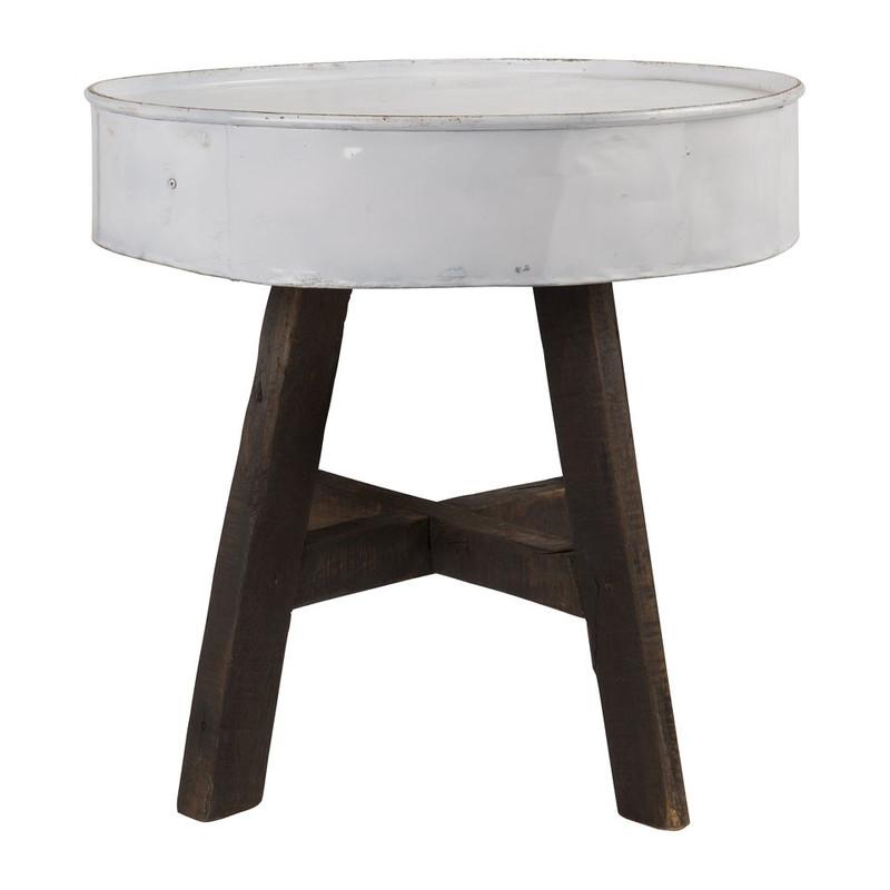 Recycle tafeltje met zinken blad - wit - 60x57 cm