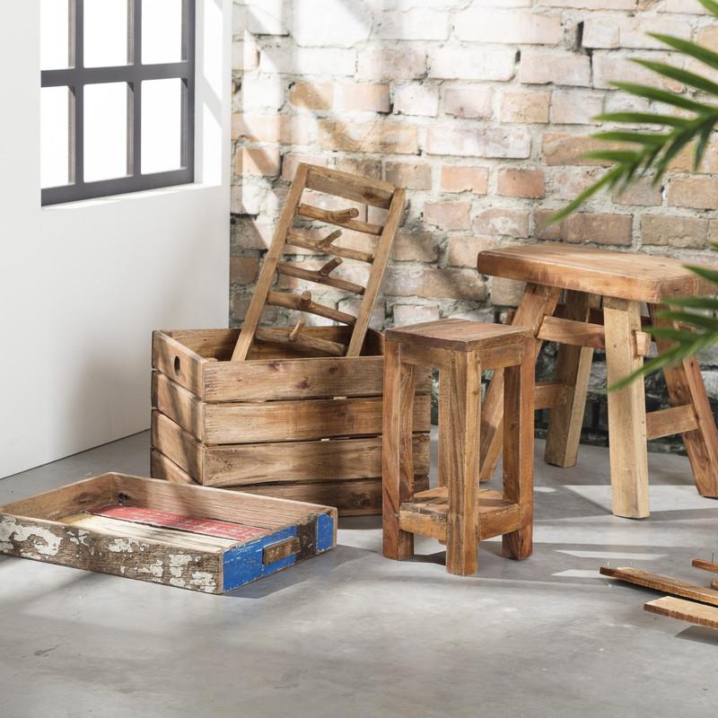 Kapstok met 8 haken - gerecycled hout