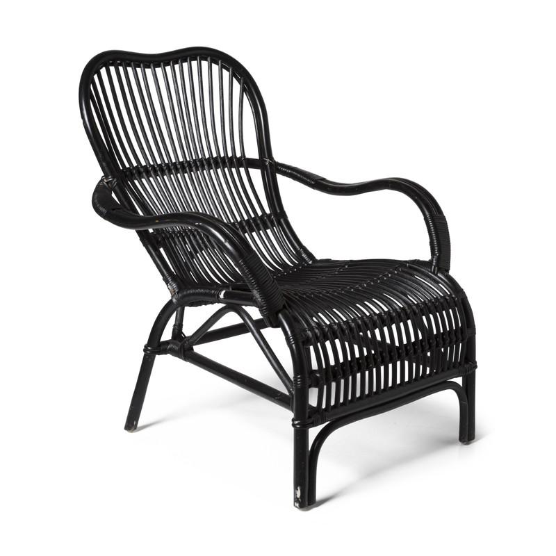 Rotan stoel bandung - zwart - 83x69x84 cm