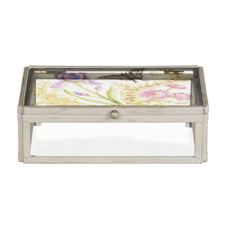 Glazen kistje bloem -12x17x5.5 cm