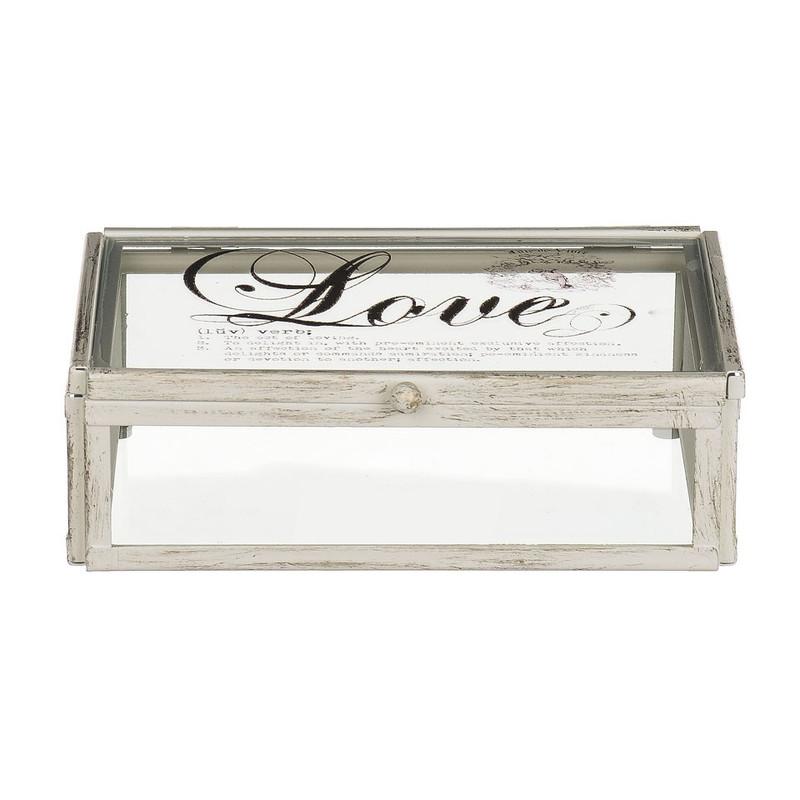 Glazen kistje love -12x17x5.5 cm
