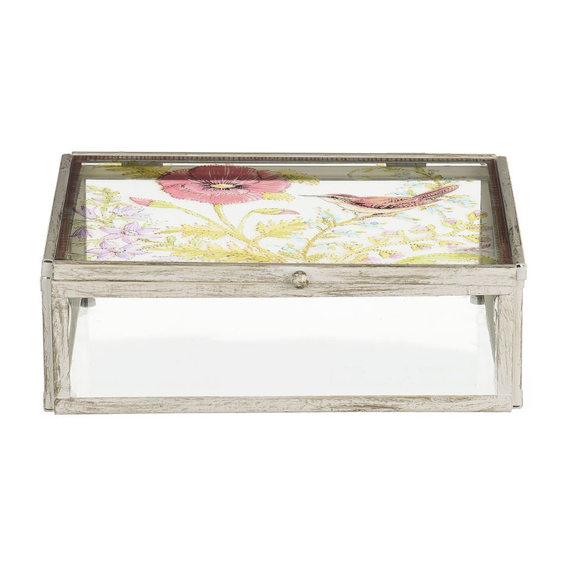 Glazen kistje bloem - 16x21x7 cm