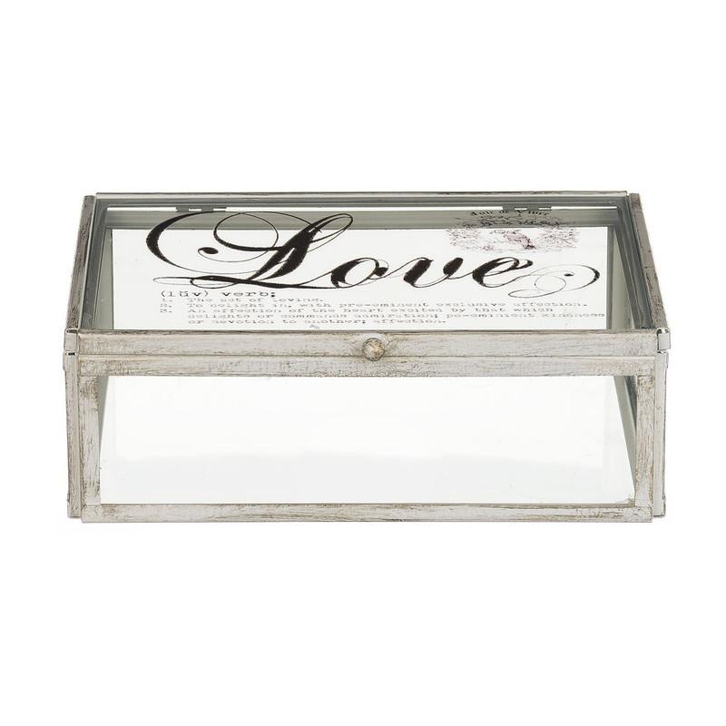 Glazen kistje love - 16x21x7 cm