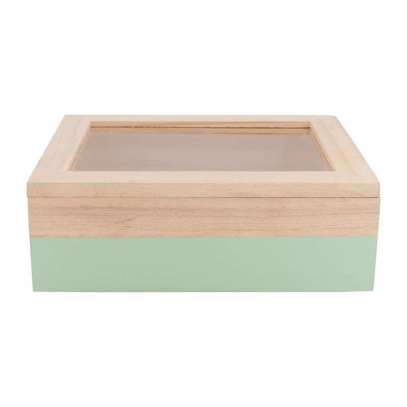 Kistje gedipt - 18x15x6 cm - groen