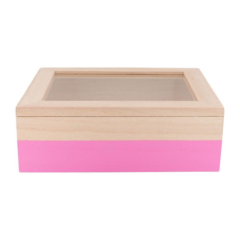 Kistje gedipt - 18x15x6 cm - roze