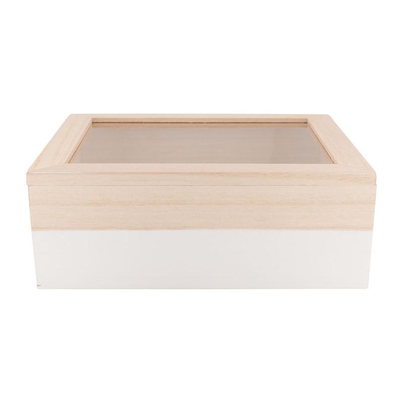 Kistje gedipt - 21x17x8 cm - wit