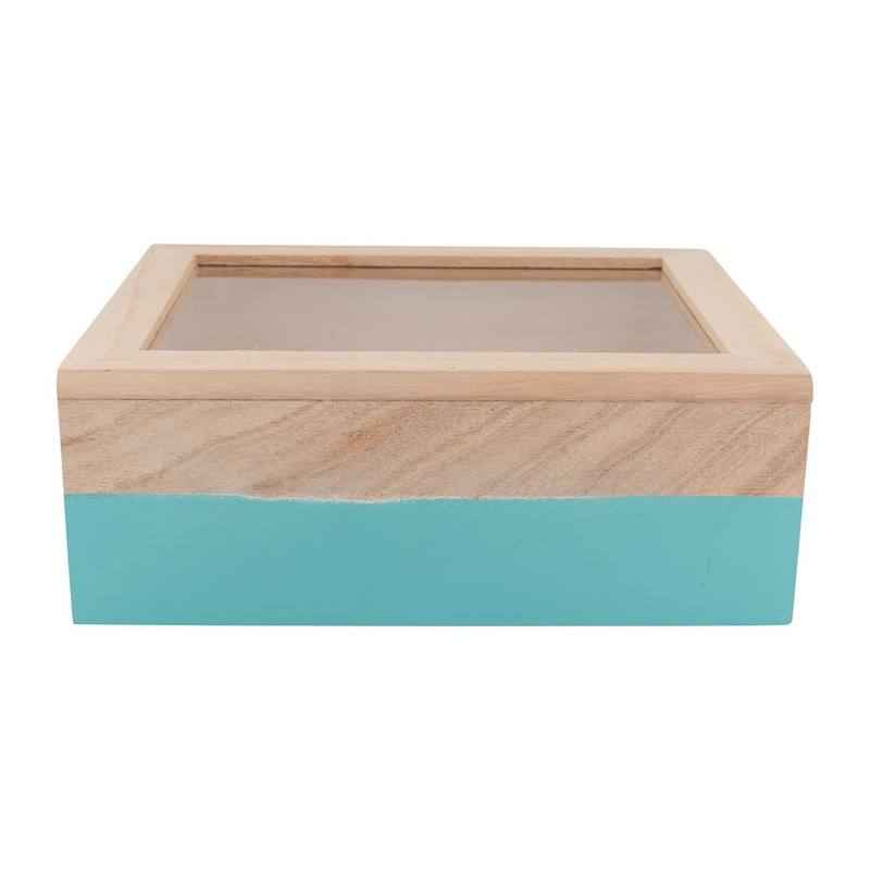 Kistje gedipt - 21x17x8 cm - blauw