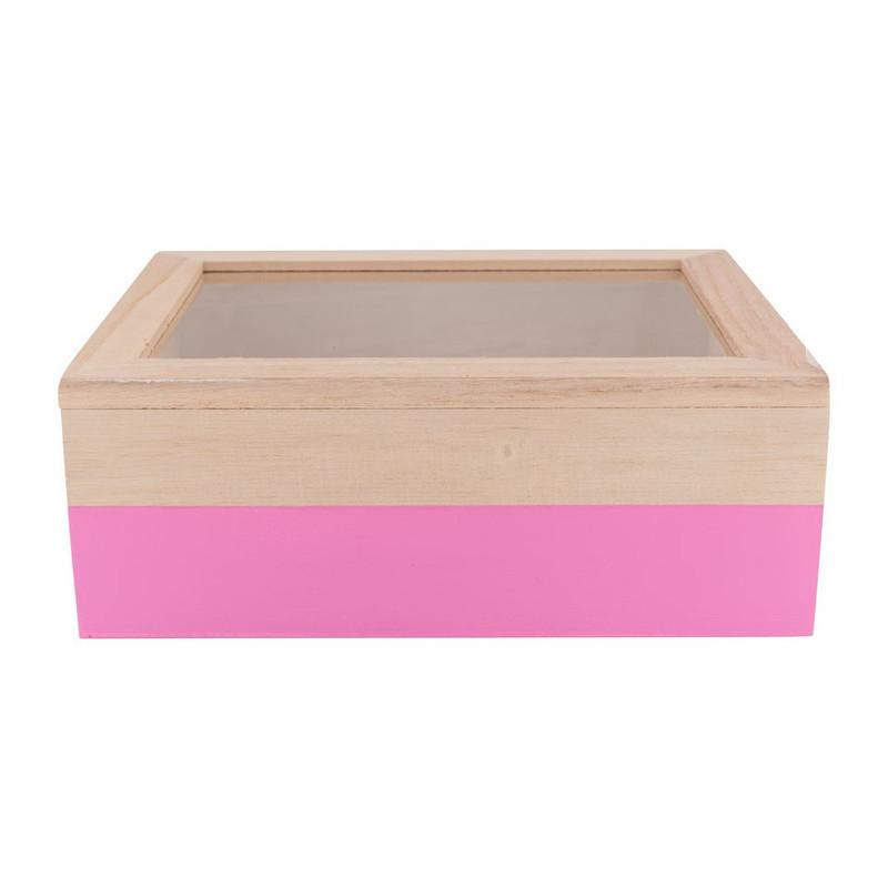 Kistje gedipt - 21x17x8 cm - roze