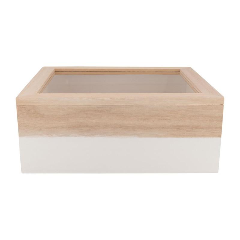 Kistje gedipt - 23x19x9 cm - wit