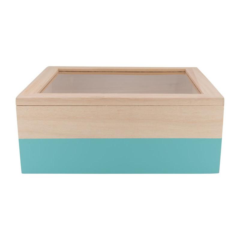 Kistje gedipt - 23x19x9 cm - blauw