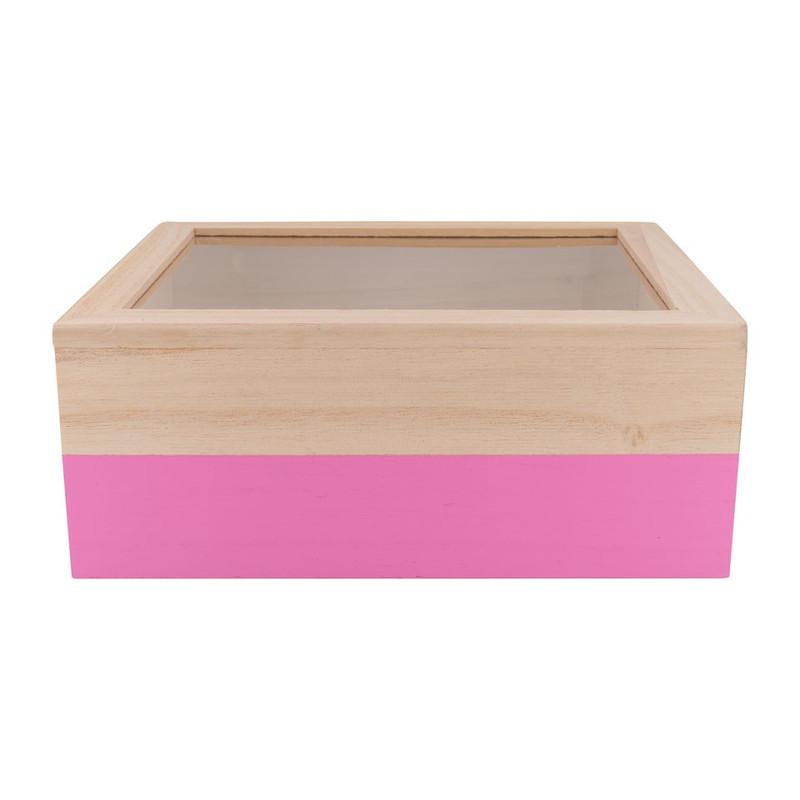 Kistje gedipt - 23x19x9 cm - roze