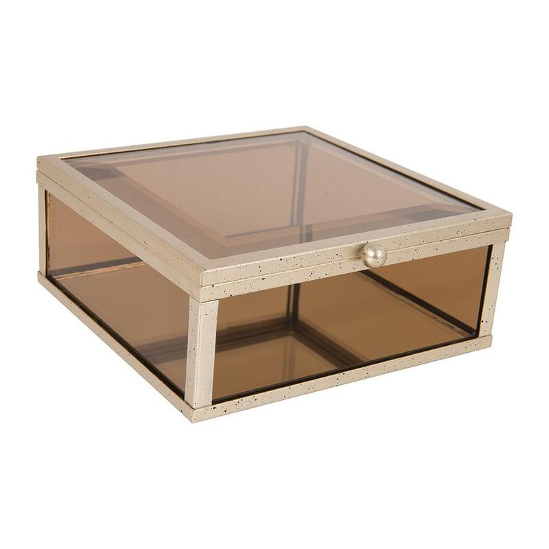 Glazen kistje vierkant - bruin - 12x12 cm