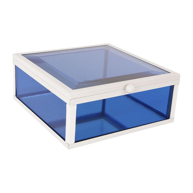 Glazen kistje vierkant - blauw - 12x12 cm