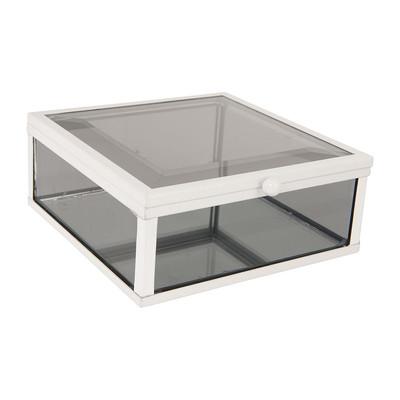 Glazen kistje vierkant - zwart - 12x12x5,5 cm