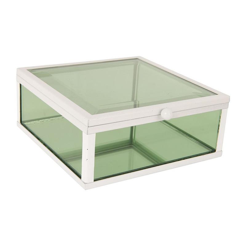 Glazen kistje vierkant - groen - 12x12 cm