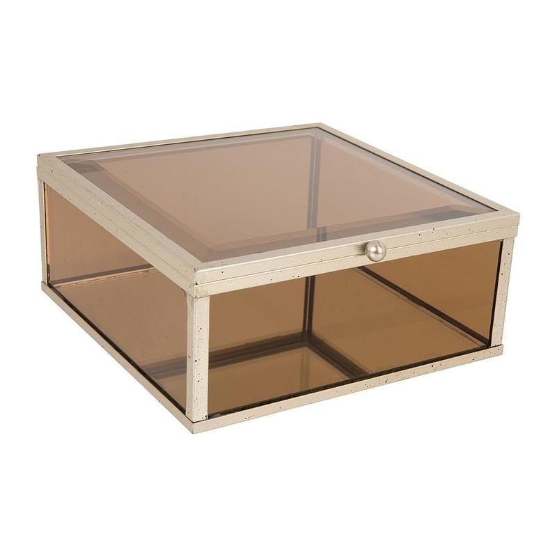 Glazen kistje vierkant - bruin - 15x15 cm