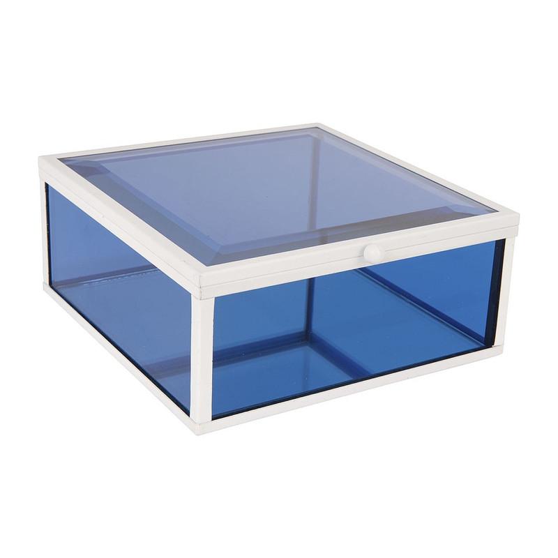 Glazen kistje vierkant - blauw - 15x15 cm