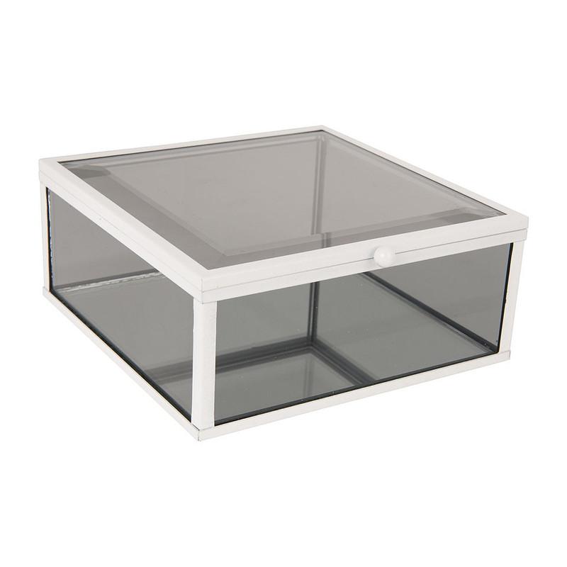 Glazen kistje vierkant - zwart - 15x15 cm
