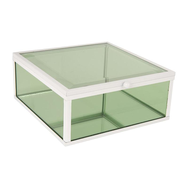 Glazen kistje vierkant - groen - 15x15 cm