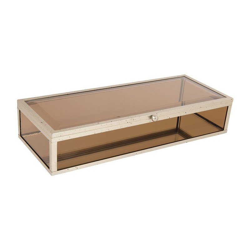 Glazen kistje rechthoek - bruin - 11x25,5x5 cm