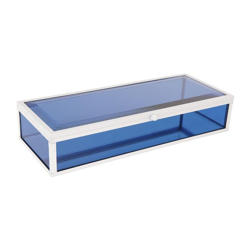 Glazen kistje rechthoek - blauw - 15x12x17 cm