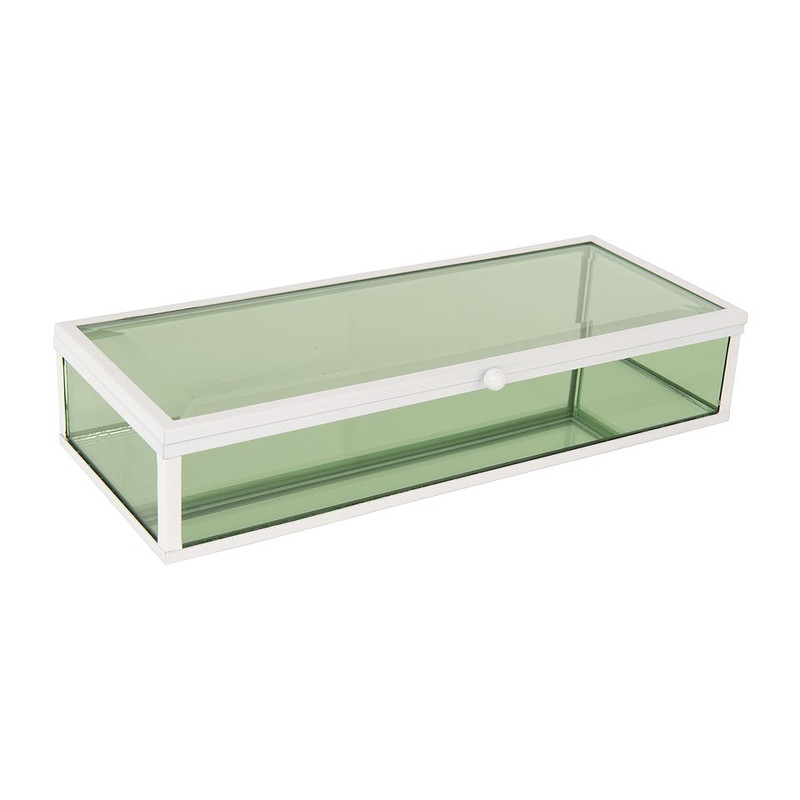 Glazen kistje rechthoek - groen - 15x12x17 cm