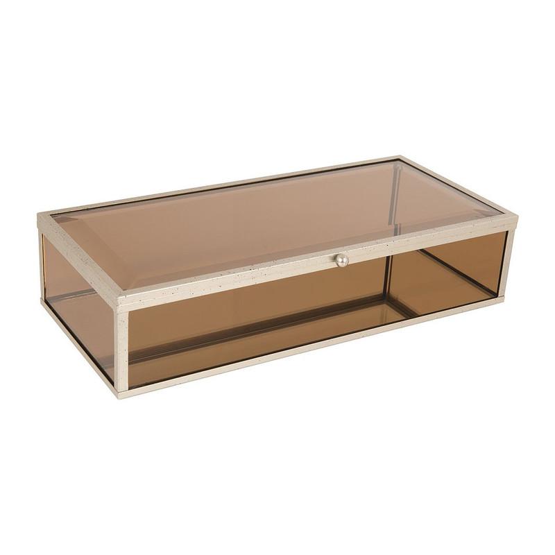 Glazen kistje rechthoek - bruin - 14x28x7 cm