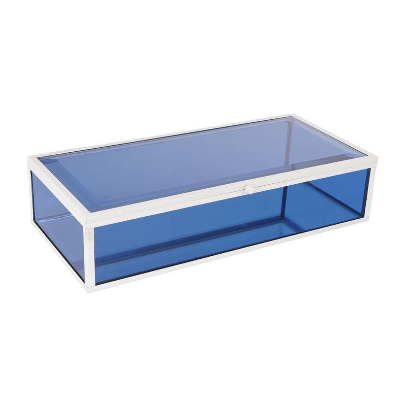 Glazen kistje rechthoek - blauw - 14x28x7 cm