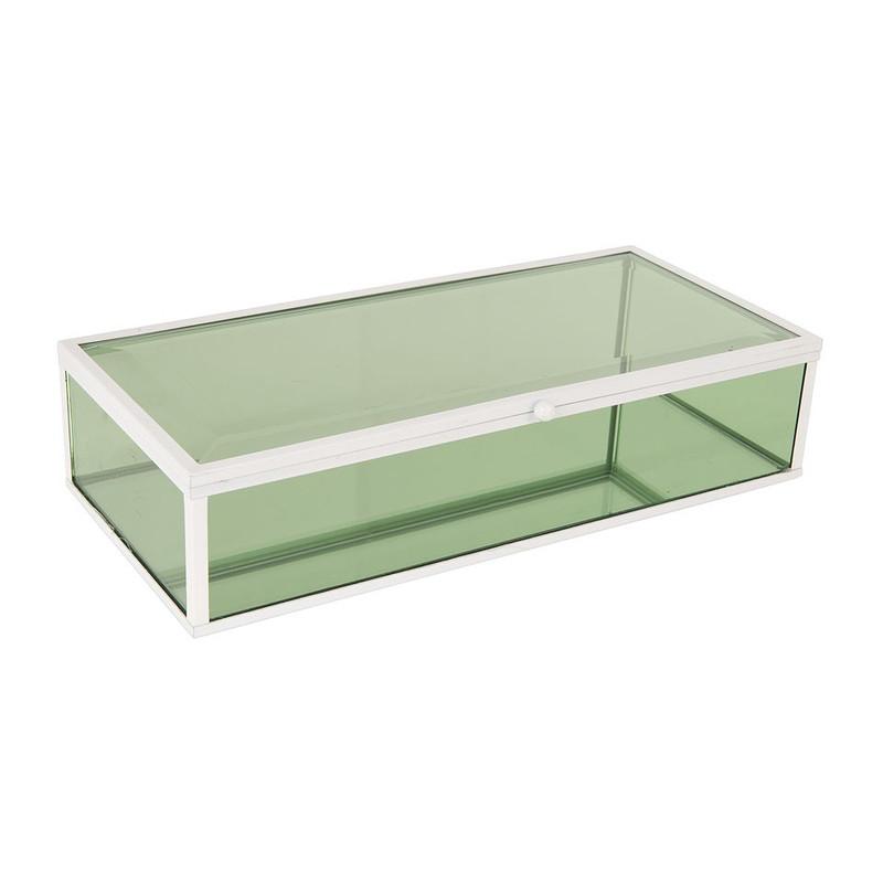 Glazen kistje rechthoek - groen - 15x15x20 cm