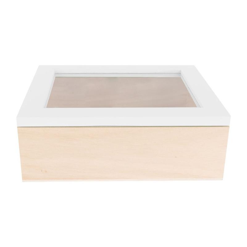 Kistje gedipt deksel - 18x15x6 cm - wit