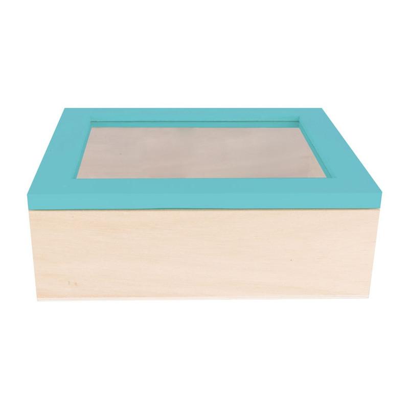 Kistje gedipt deksel - 18x15x6 cm - blauw