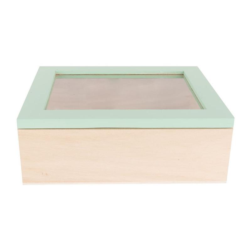 Kistje gedipt deksel - 18x15x6 cm - groen
