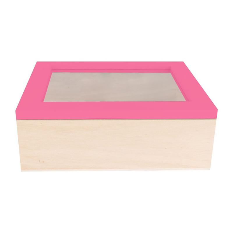 Kistje gedipt deksel - 18x15x6 cm - roze