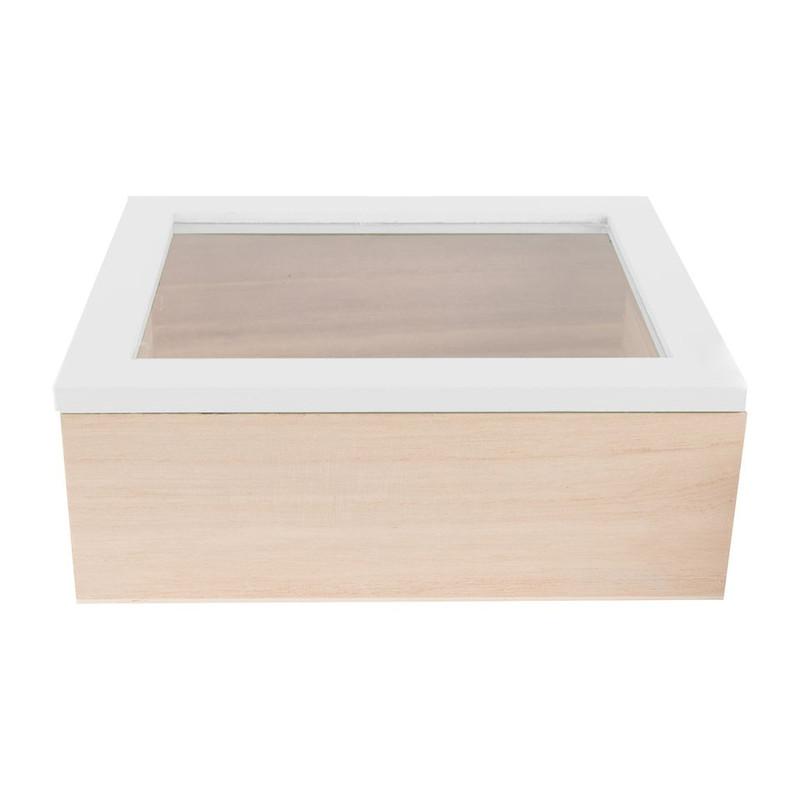 Kistje gedipt deksel - 21x17x8 cm - wit