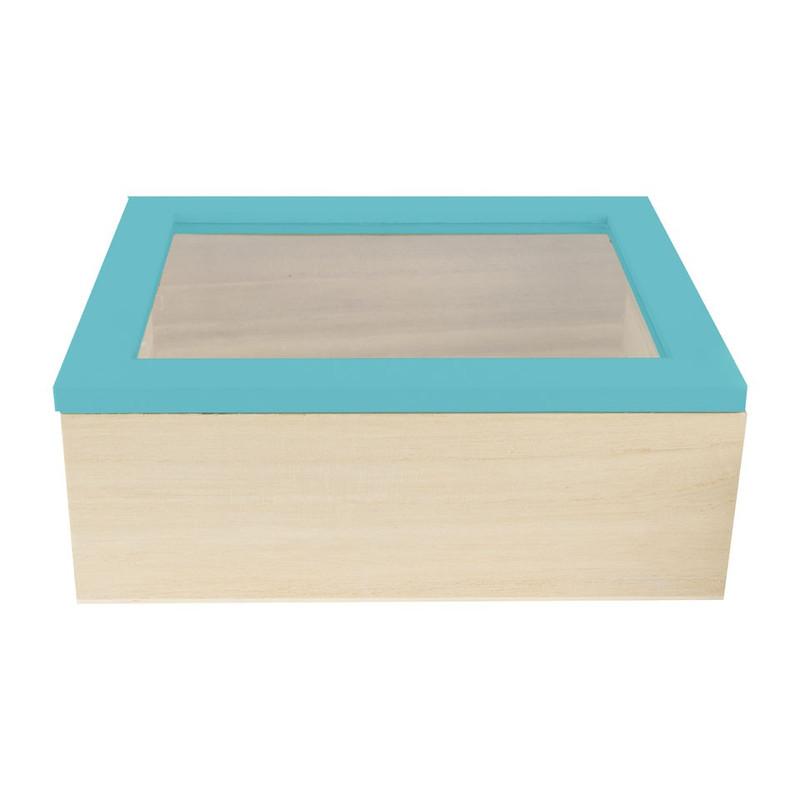 Kistje gedipt deksel - 21x17x8 cm - blauw