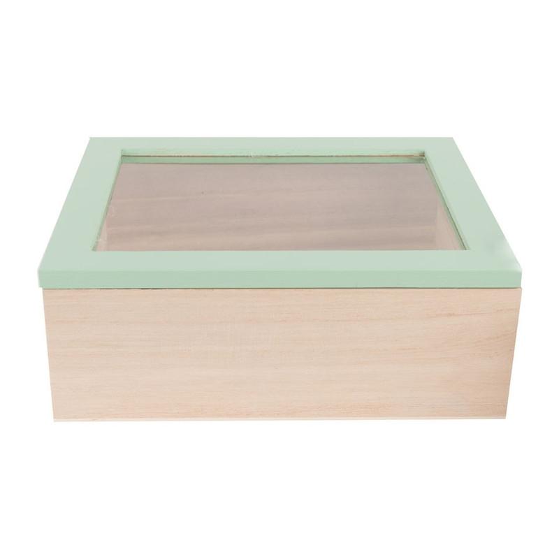 Kistje gedipt deksel - 21x17x8 cm - groen