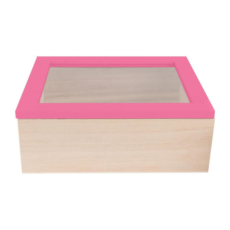 Kistje gedipt deksel - 21x17x8 cm - roze