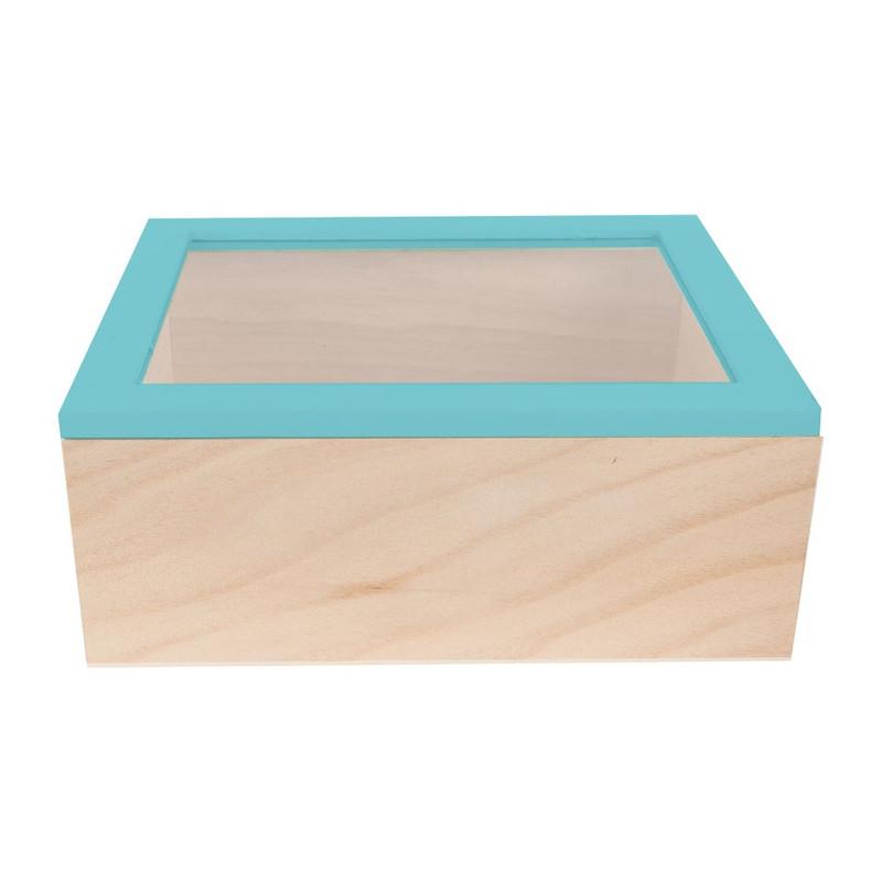 Kistje gedipt deksel - 23x19x9 cm - blauw