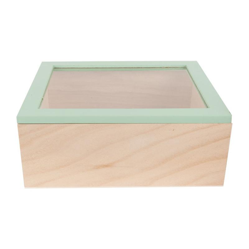 Kistje gedipt deksel - 23x19x9 cm - groen