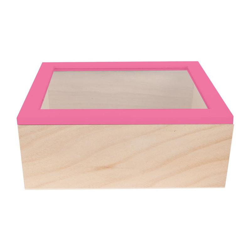 Kistje gedipt deksel - 23x19x9 cm - roze